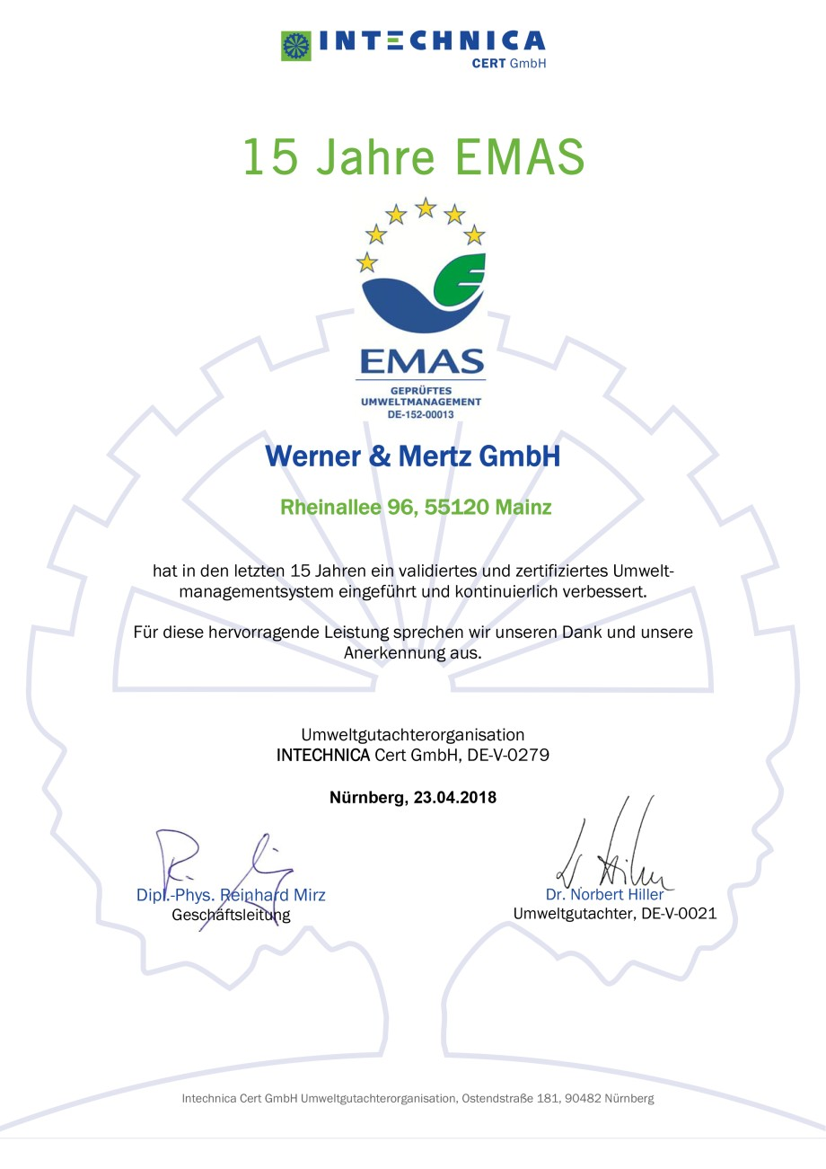 werner mertz,green care professional,emas,15 year,certification