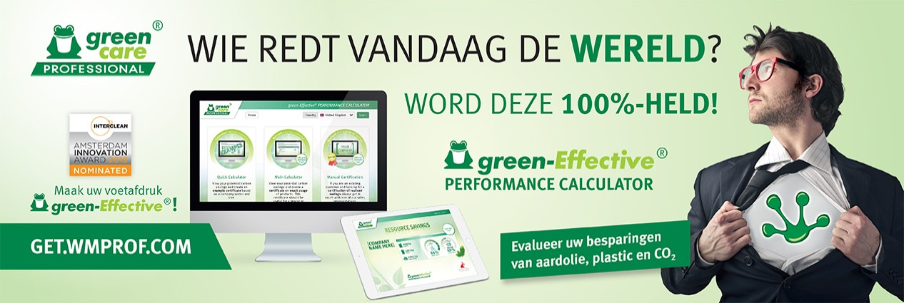 werner mertz,green care professional,green-effective,performance,calculator,plastic,besparing,aarolie,co2,certificaat